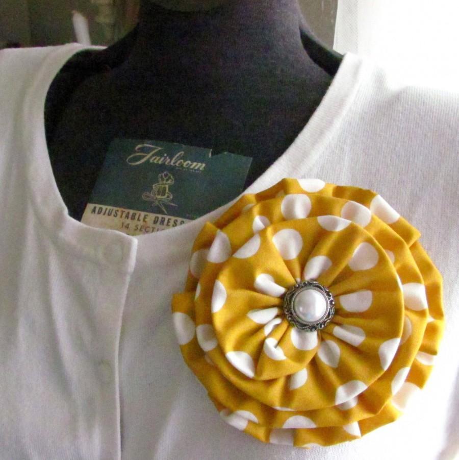 Mustard Yellow Flower Pinstard Hair Clipfabric Flower Brooch