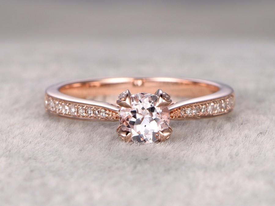 زفاف - Morganite Engagement ring Rose gold,Diamond wedding band,14k,6.5mm Round Cut,Gemstone Promise Bridal Ring,unique prong,new design
