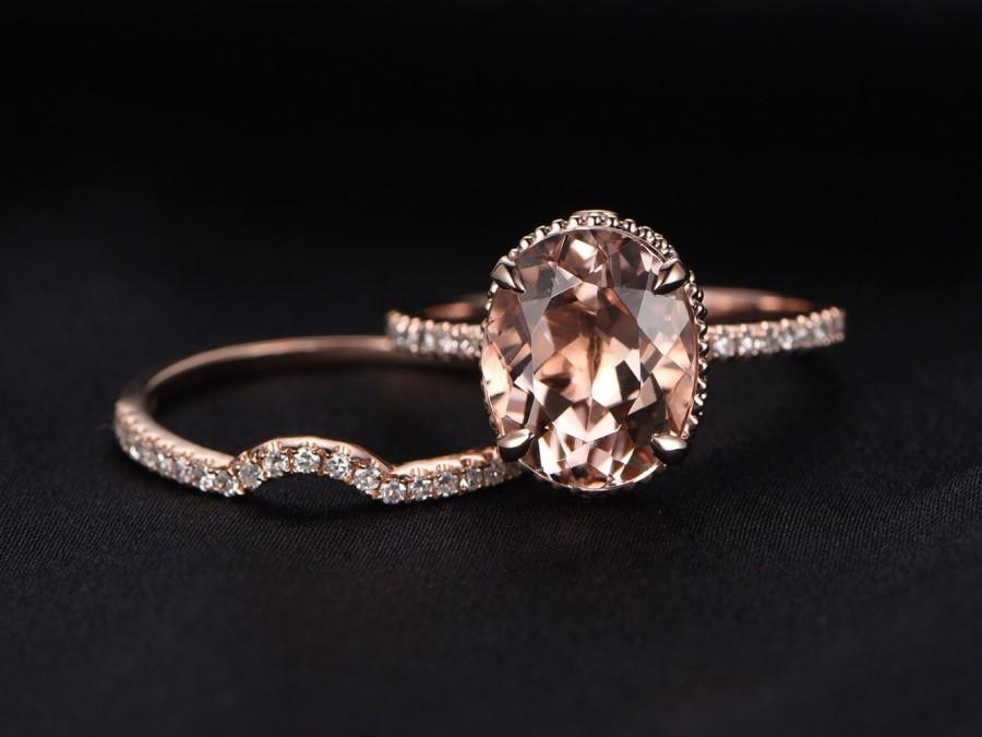 9x11mm Oval Cut Morganite Engagement Ring Set,Curved U Diamond ...