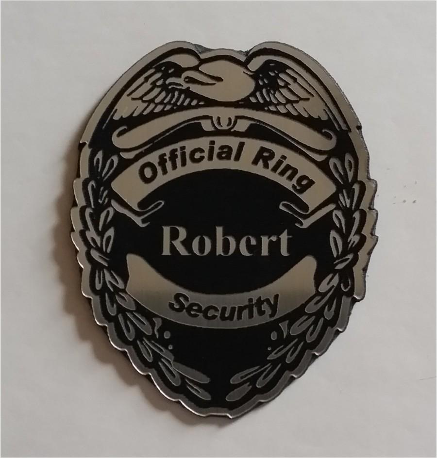 Mariage - Silver official ring security badge  or ring bearer badge with magnetic clip, gift for the ring bearer, laser engraved