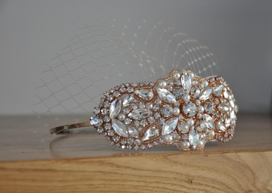 Mariage - Rose Gold Mini Veil Headband, Bridal Veil, Wedding Veil, Bridal Headpiece, Pearl Wedding Headband