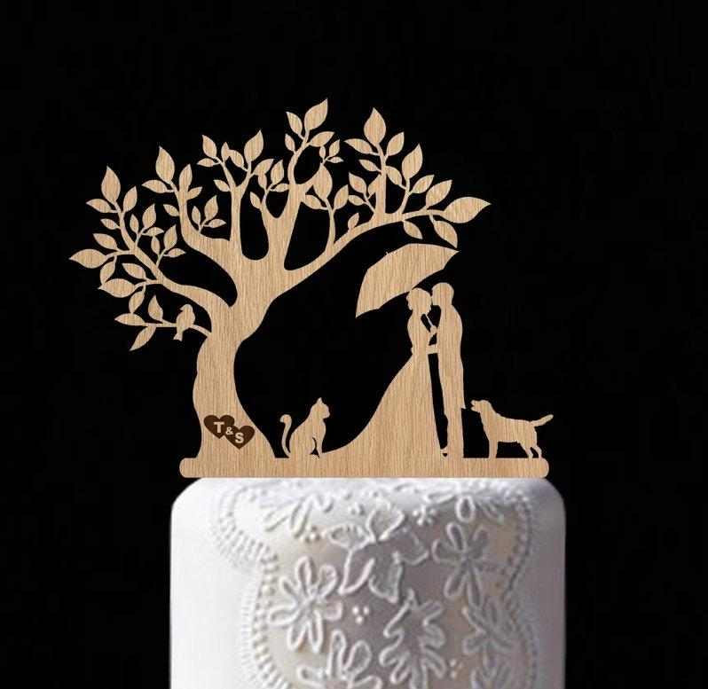 Mariage - rustic wedding cake topper wedding tree with bird cake topper personalized wood cake toppers Mr Mrs cake topper custom personal bride groom
