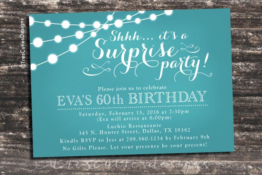 Adult Surprise Birthday Invites Soft Teal Chalkboard 30th 40th