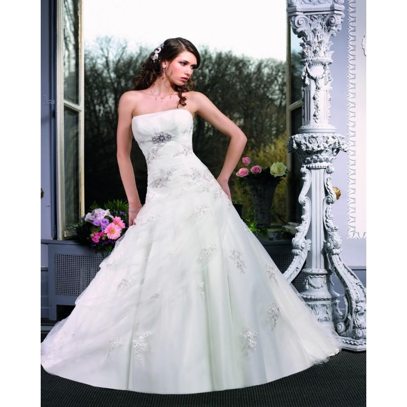 Wedding - Honorable A-line Strapless Beading Lace Chapel Train Tulle Wedding Dresses - Dressesular.com