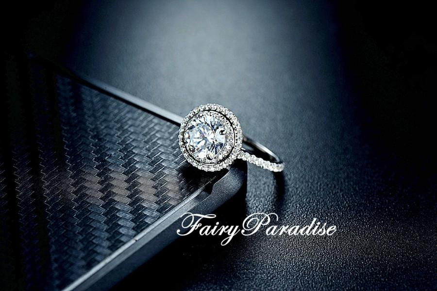Свадьба - 1.5 Carat Double Halo Engagement Ring / Promise Ring, Round Cut Man Made Diamond, Solid 925 Silver, Free Ring Box (Fairy Paradise) ZDR349