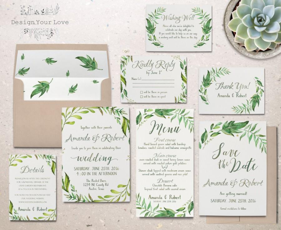 Printable Greenery Wedding Invitation Suite Green Wedding Invitation ...