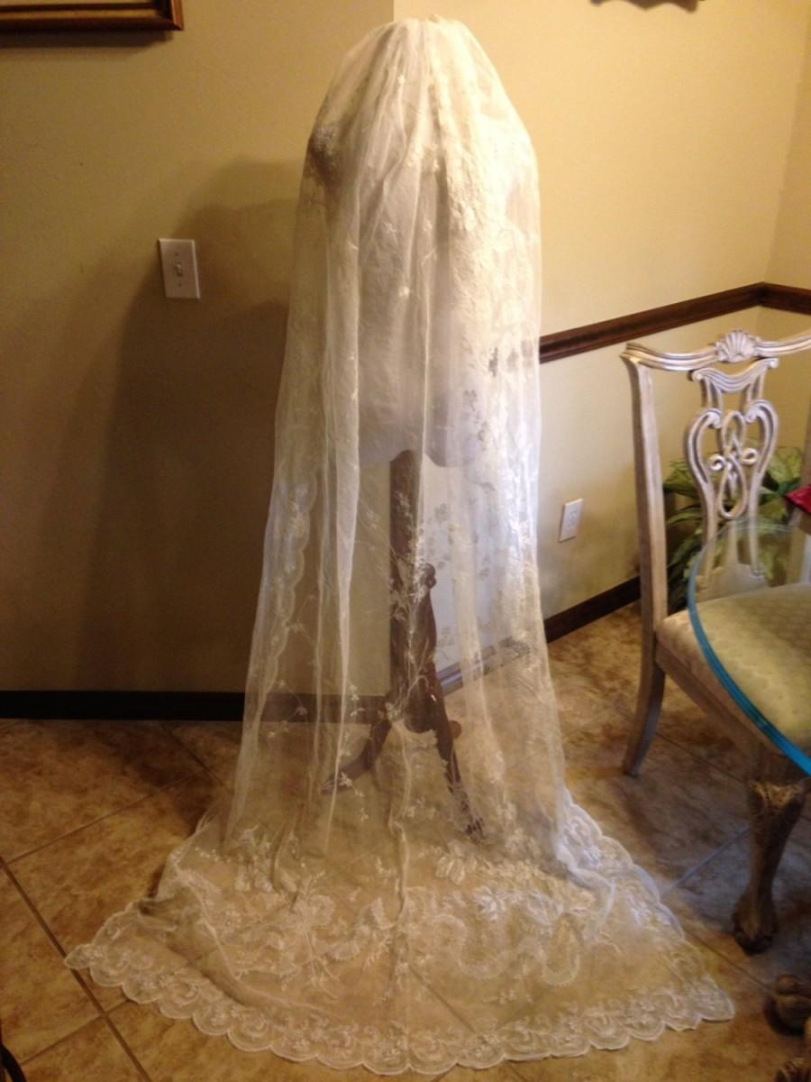 Wedding - CLEARANCE!!!   Glorious Antique Edwardian French Lace Veil