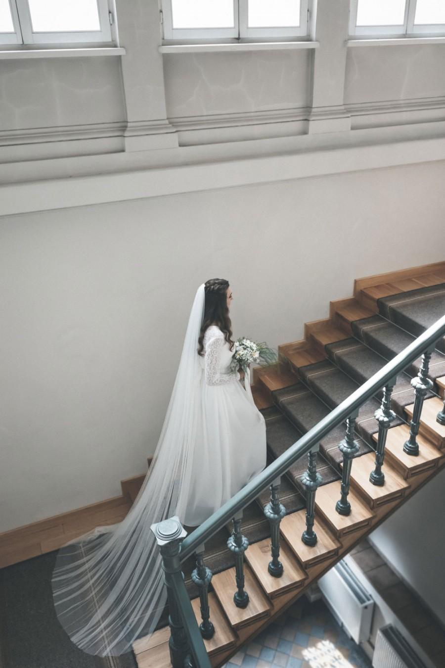 Свадьба - Bridal veil - Soft English net veil - Wedding veil -  Elbow, Waist, Fingertip, Waltz, Floor,  Chapel, Cathedral