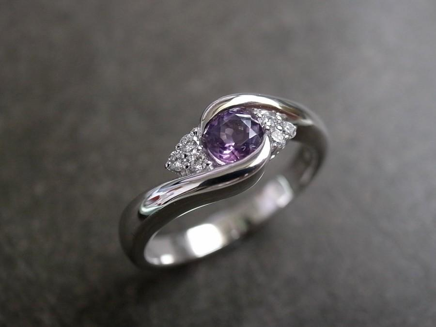 Hochzeit - Diamond Wedding Ring with Amethyst / Engagement Ring / Diamond Wedding Ring / Wedding Rings / Diamond Engagement Band in 14K White Gold