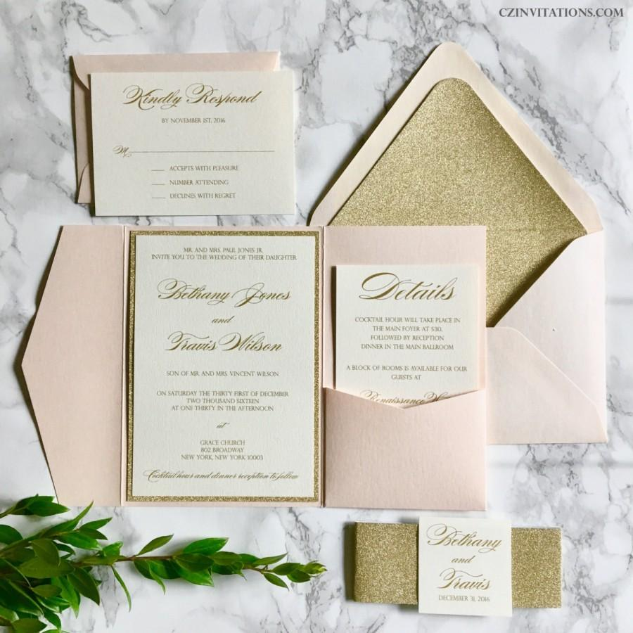 Blush And Gold Glitter Pocket Wedding Invitations With Glitter Belly ...