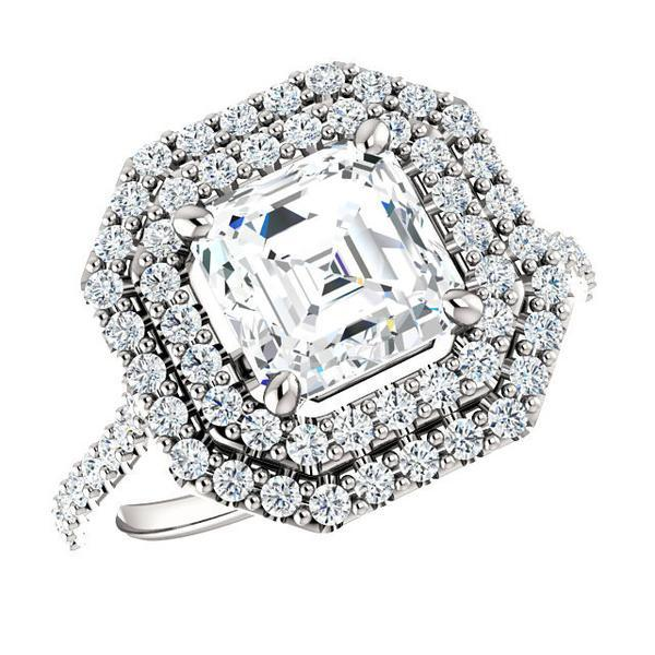 Свадьба - 6.5mm Asscher Supernova Moissanite & Diamond Wedding Set