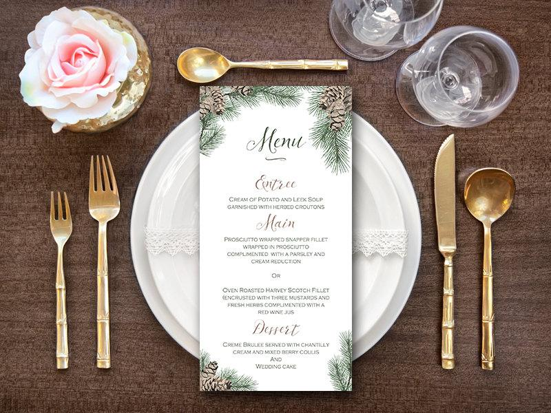 Hochzeit - Christmas, Xmas, Winter Menu, Pinecone Menu, Personalized Menu, Custom Wedding Menu Printable, Wedding Menu Template , Snow Menu WS73 WM165