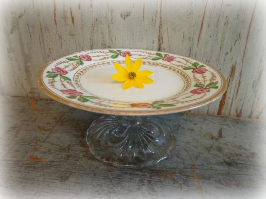 Mariage - vintage upcycled dessert candy stand / pedestal serving dish