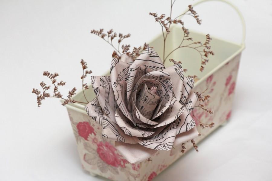 Mariage - vintage wedding bouquet 5pcs wedding flowers paper flowers paper flower bouquet vintage paper flowers vintage paper roses old paper flowers