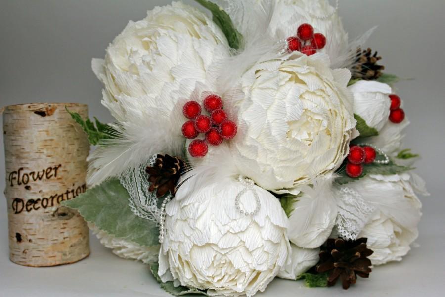 زفاف - Winter bouquet cones berries bridal bouquet christmas wedding snowflake bouquet winter rustic bouquet winter wedding bouquet white peonies