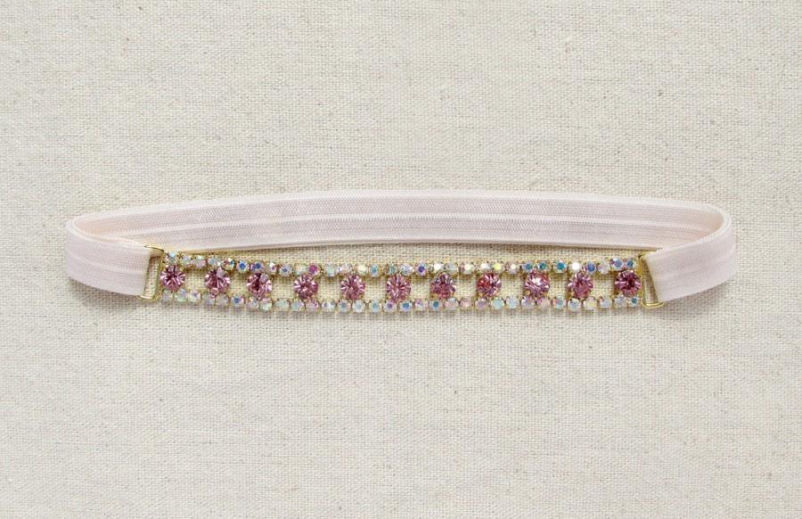 Hochzeit - Blush crystal garter