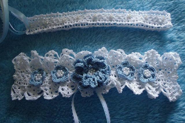 Hochzeit - Free Shipping Wedding Crochet Bead Rose Flower Garters 2 Piece Set