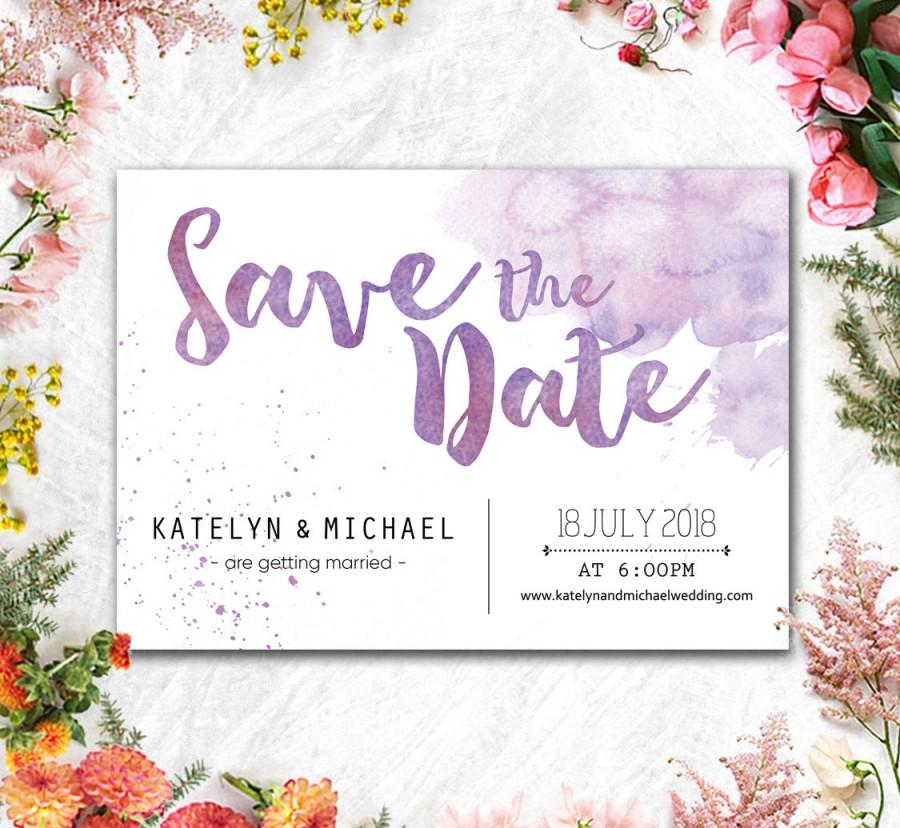 Mariage - Printed Card - Digital Printable Files Save The Date Purple Lavender Beach Watercolor Wedding Save The Date - Wedding Stationery - IDSTD4