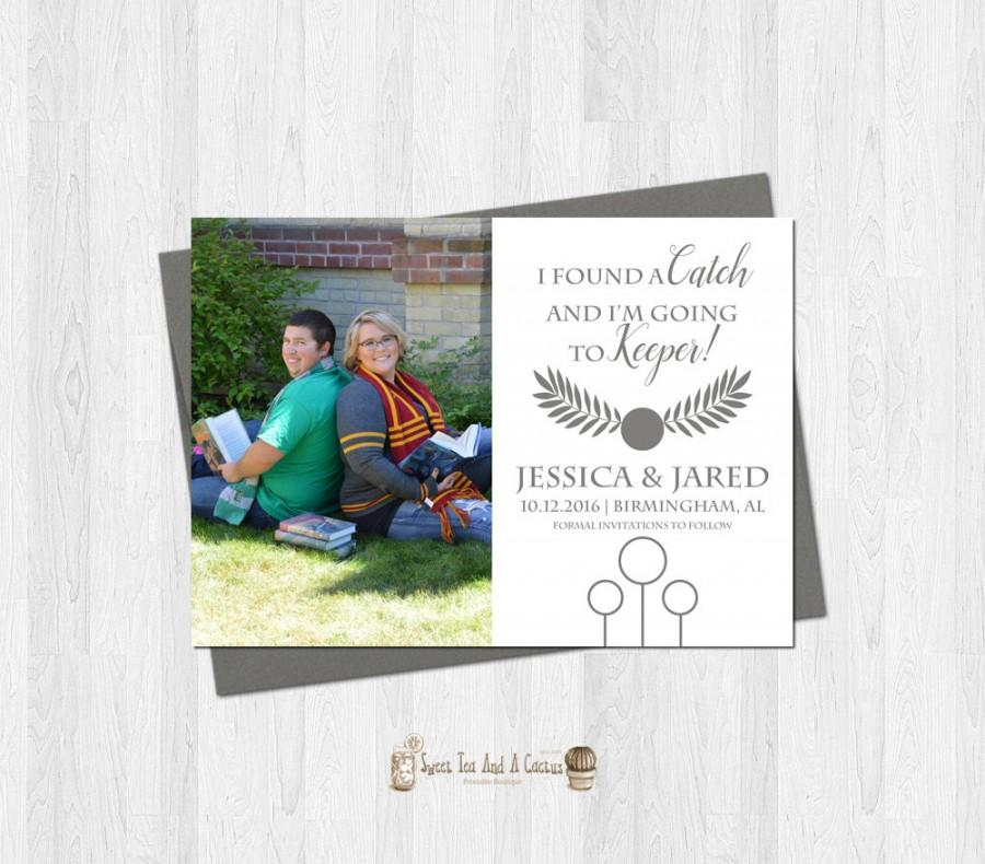 زفاف - Harry Potter Wedding Save the Date Catch and Keeper Themed Printable Digital File Custom Photo Sci-fi Nerd Geek Movie Announcement Cards