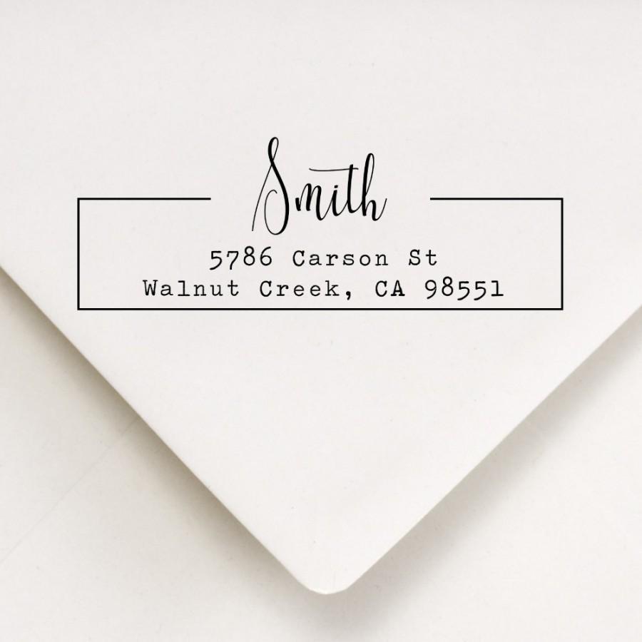 زفاف - Address Stamp, Return Address Stamp, Modern Frame Stamp (816)
