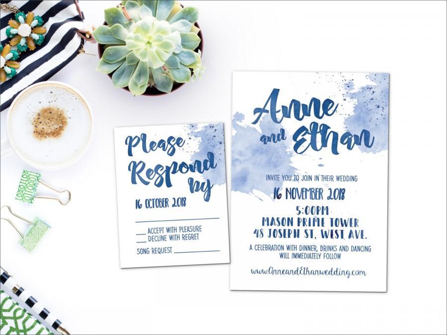 زفاف - Printed Card - Digital Printable Files - Navy Blue Beach Watercolor Wedding Invitation and Reply Card Set - Wedding Stationery - ID645