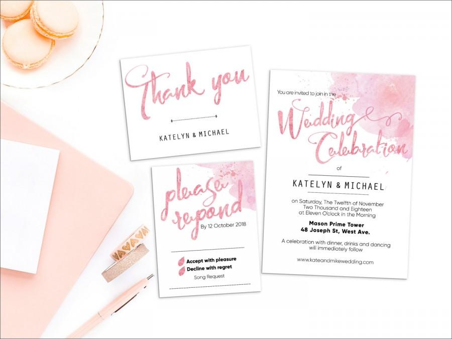 زفاف - Printed Card - Digital Printable Files - Blush Pink Rose Gold Beach Watercolor Wedding Invitation RSVP Set - Wedding Stationery - ID643