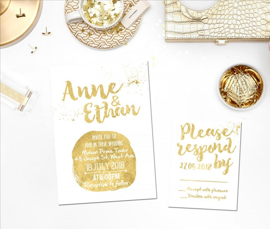 Printed Card Digital Printable Files Gold Glitter