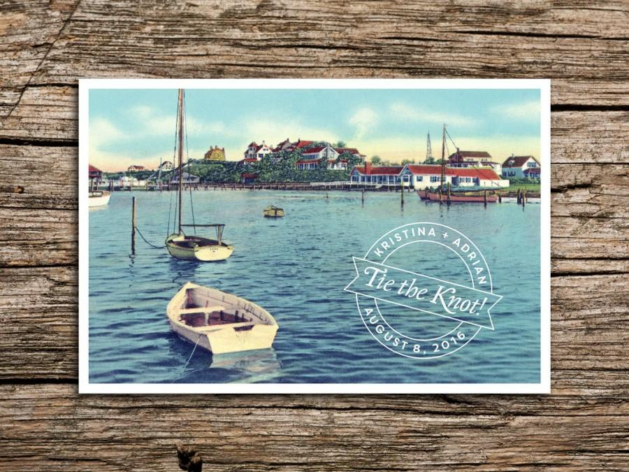 زفاف - New England Harbor Save the Date Postcard // Cape Cod Save the Date Vintage New England Post Card Yacht Club Wedding Anchor Marthas Vineyard