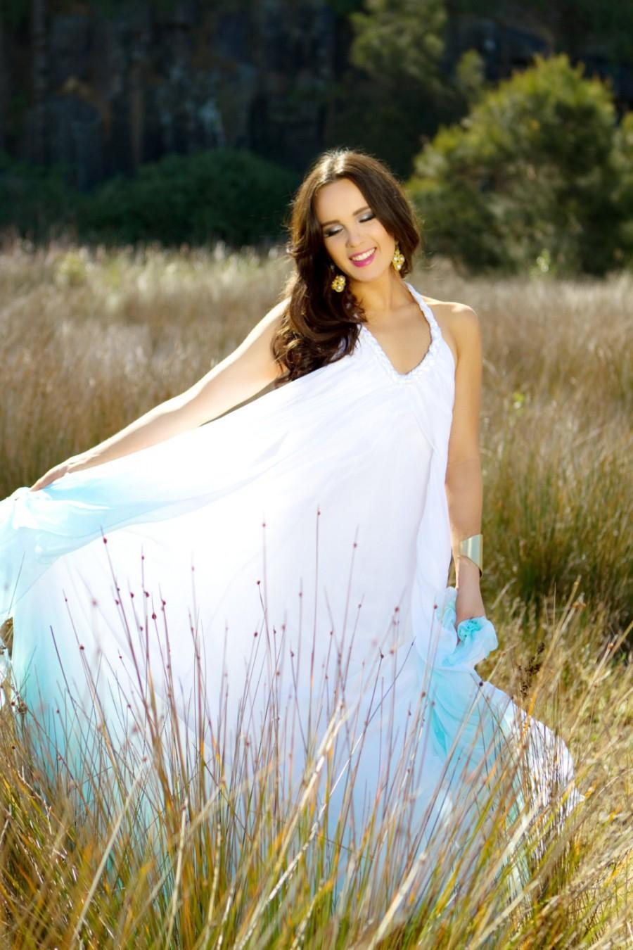 Silk Chiffon Dip Dyed Beach Garden Wedding Dress With Low Back Free Flowing Or Tied Options