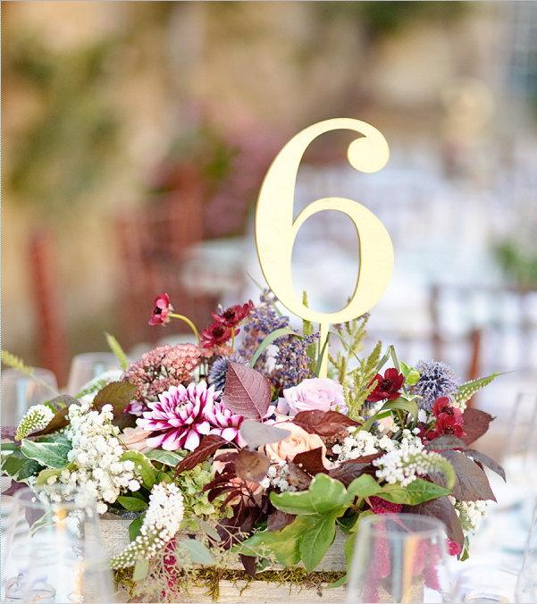 Mariage - 10  Gold Table Numbers. Wedding Numbers. Table numbers.
