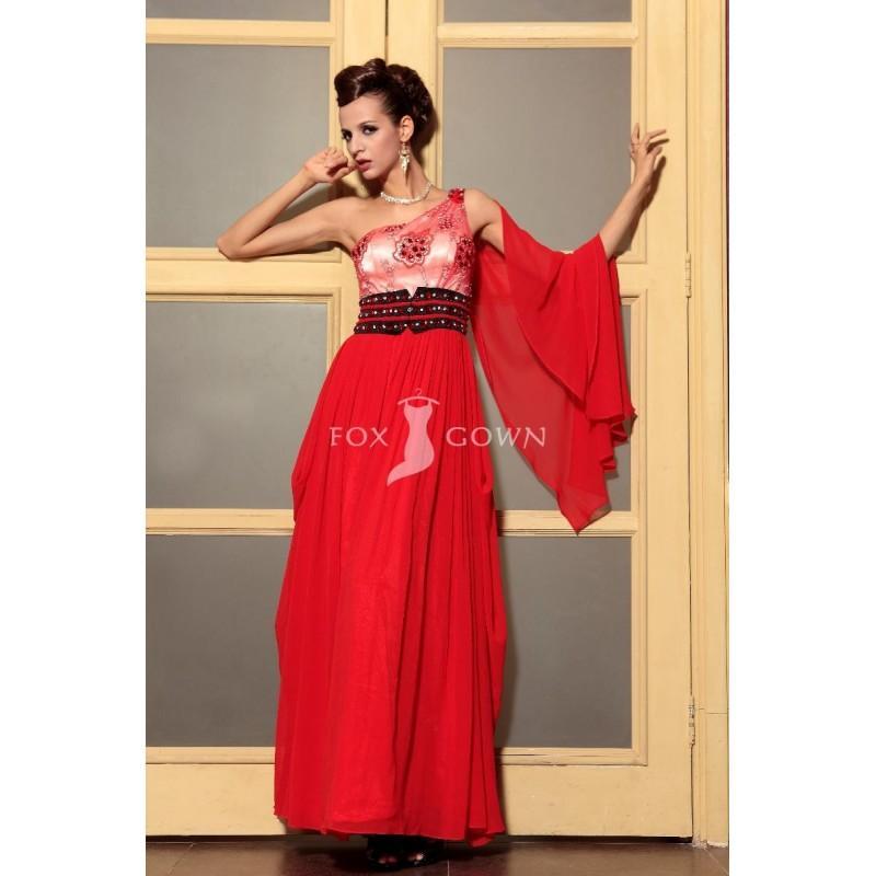 Свадьба - Rot a-Line Stock Länge One-Schulter Empire Perlen bestickt gefaltete Prom Kleid - Festliche Kleider