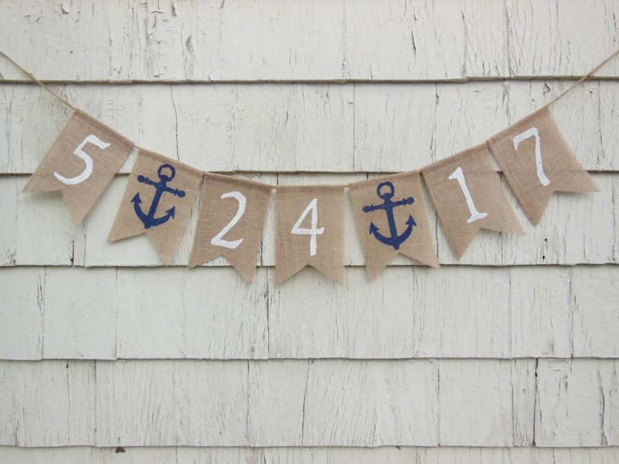 Mariage - Save the Date Burlap Banner, Nautical Bridal Shower Decor, Engagement Bunting, Engaged, Save The Date Photo Prop, Custom Save The Date Sign