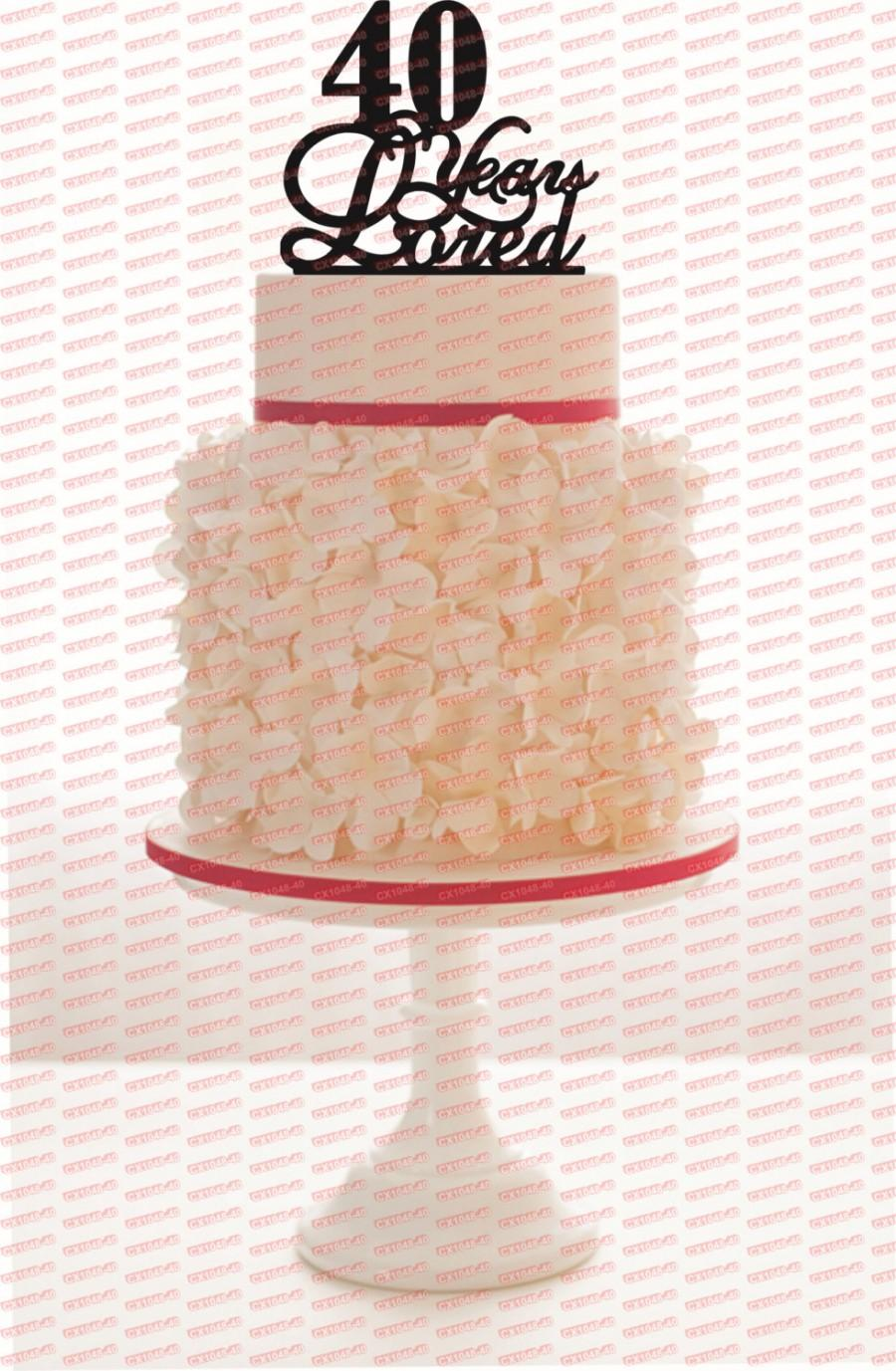 زفاف - 40th Birthday/Anniversary Cake Topper Personalized 40 Years Loved Cake Topper Removable Spikes and Free Base With Over 25 Different Colors