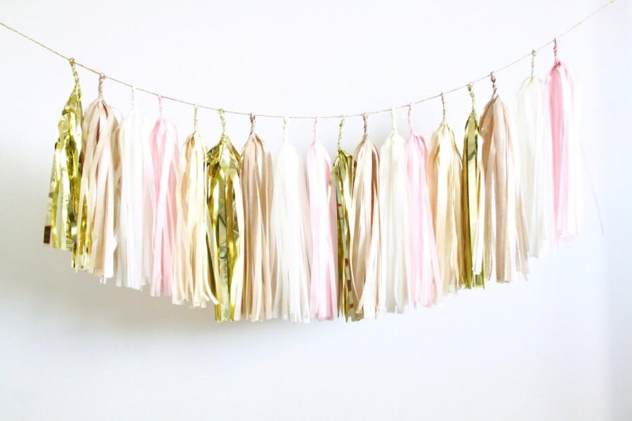 Blush Champagne And Rose Gold Tassel Garland