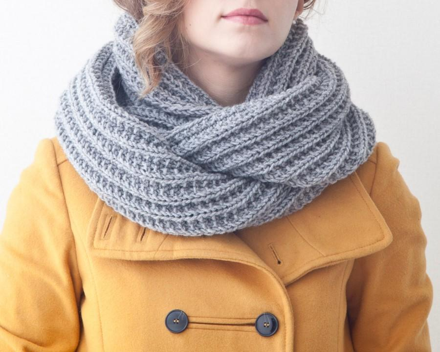 Gray Infinity Scarf Knit Chunky Scarf Collar Scarf Christmas