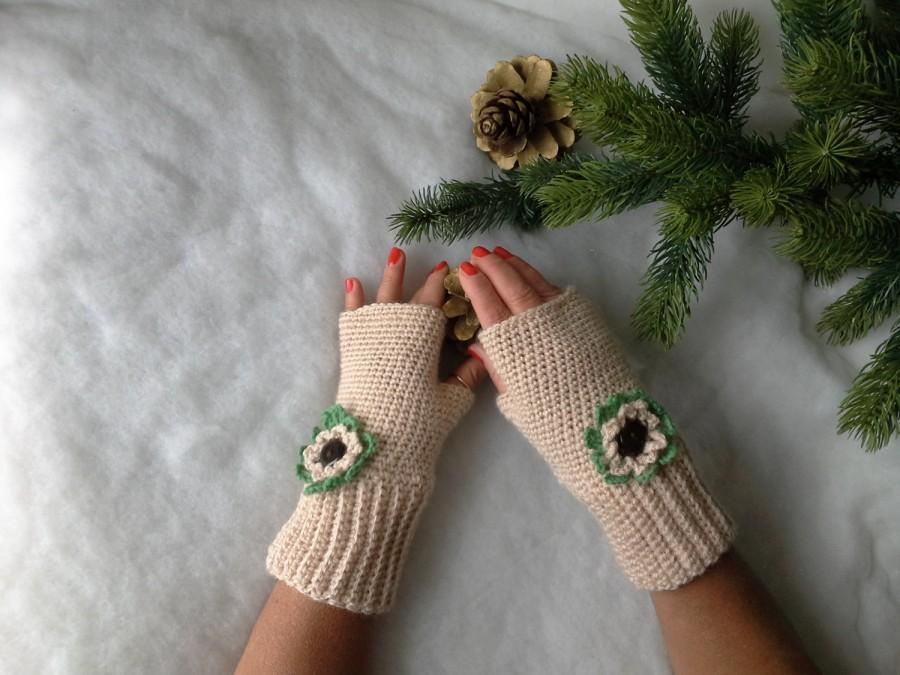 Hochzeit - Guanti senza dita all'uncinetto con fiore - Fingerless gloves crocheted - Gloves handmade - Gloves and mittens - Made in Italy