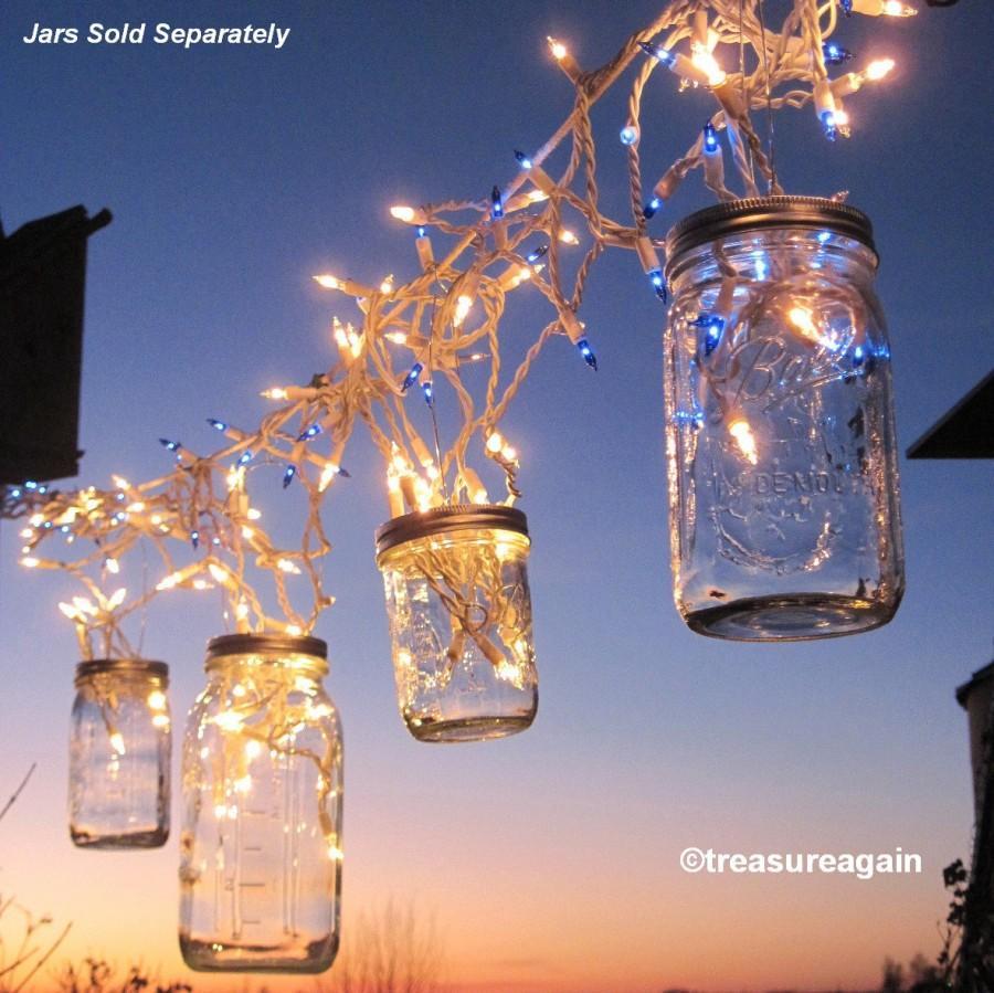 Mariage - Fairy Lights Lanterns 6 DIY Mason Jar Hangers, Twist On Hanging Wide Mouth Mason Jar Lids, No Jars