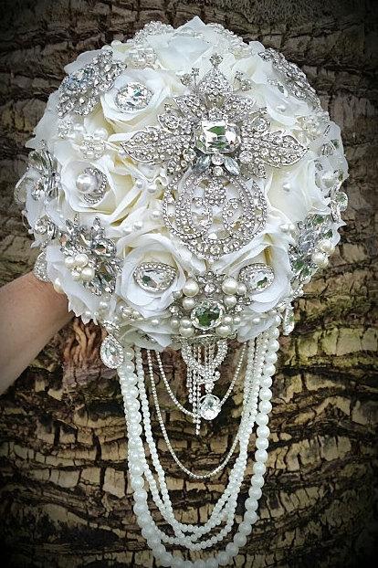 Wedding - HEIRLOOM BOUQUET, Deposit for a Gorgeous hand made Cascade Style Bridal Brooch Bouquet, Broach Bouquet, Jeweled Wedding Bouquet
