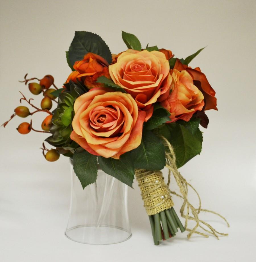 Wedding - Fall Bouquet - Bridal Bouquet, Small Bouquet, Orange, Coral, Peach, Green, Succulent, Berries, Fall Wedding, Orange Bouquet, Echeveria