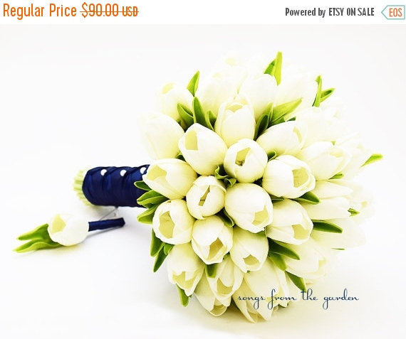 Mariage - Winter Sale Ready to Ship - Real Touch Tulips Bridal Bouquet White Navy Blue Ribbon Groom's Boutonniere -White Tulip Wedding Flower Package