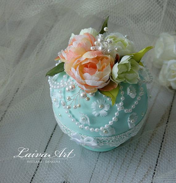 زفاف - Wedding Ring Bearer Box Beach Wedding Mint Wedding Vintage Wdding Wedding Ring Holder