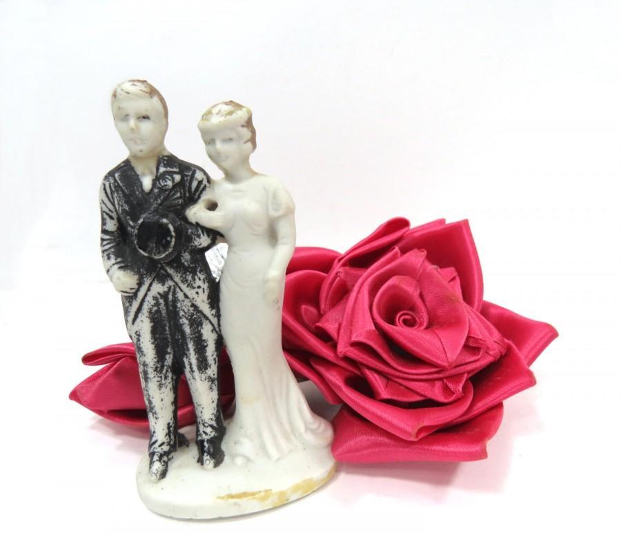 Artist Wedding Cake Toppers : 1930s Bisque Bride & Groom Wedding Cake Topper, Art Deco ...
