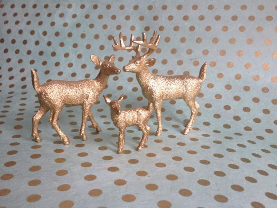 Mariage - Golden Deer Cake Topper Figurines With Fawn