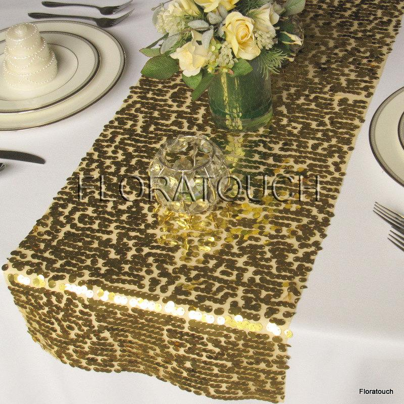 Свадьба - Gold Sparkling Sequin Table Runner Wedding Table Runner - More colors available also