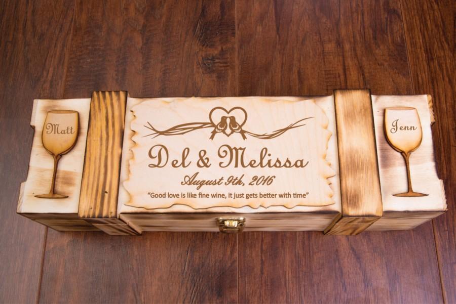 Wedding Wine Box Engraved Personalized Ceremony Wine Display