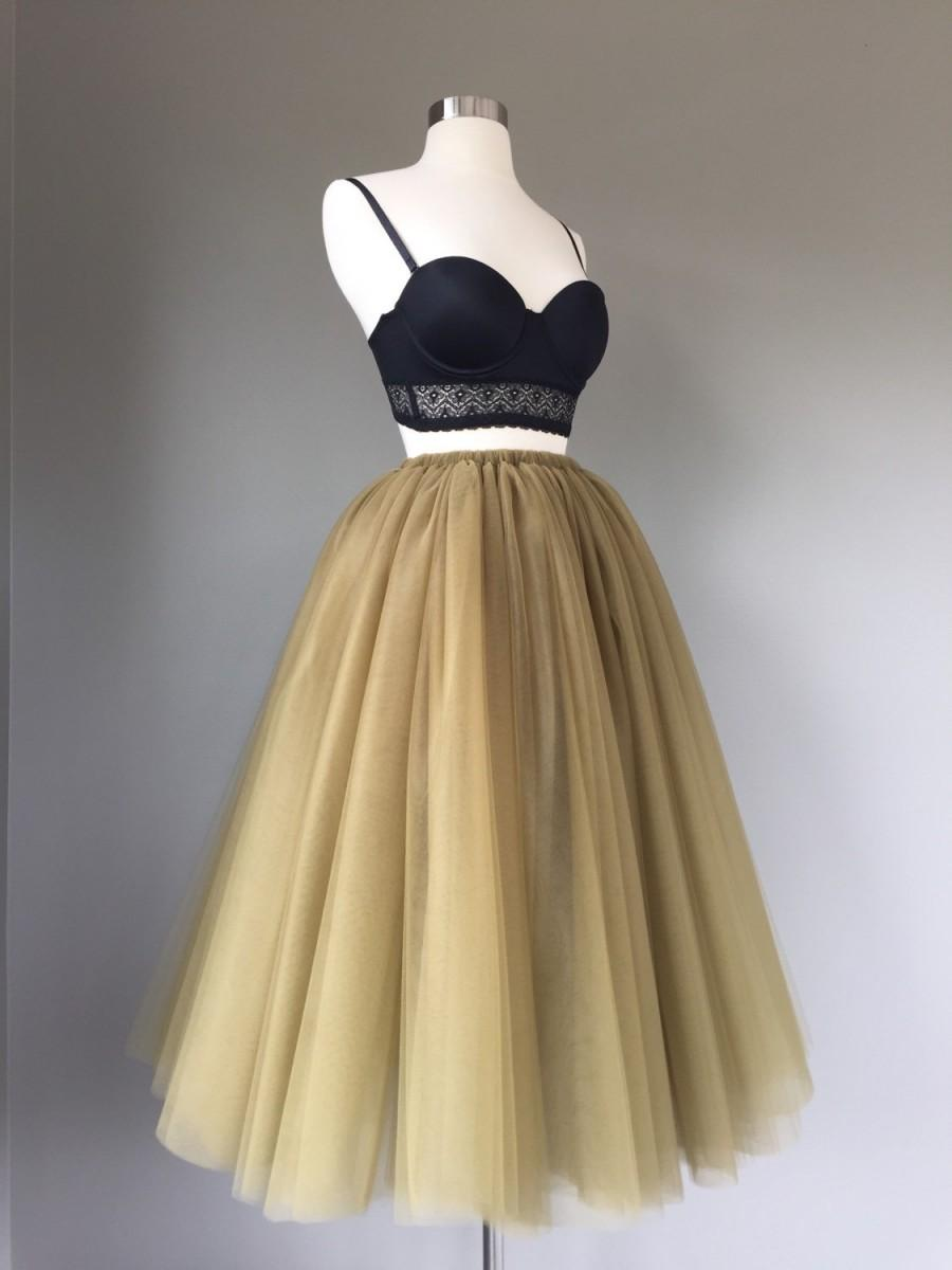 Mariage - Floor length tulle skirt, antique gold tulle skirt, adult tulle skirt, ANY COLOR