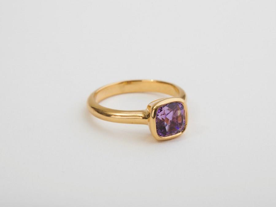 Mariage - Amethyst Engagement Gold Ring, 18 Kt Yellow Solid Gold, Solitaire Amethyst Ring, Square Bezel Ring Violet Gemstone Ring, Gem Birthstone Ring