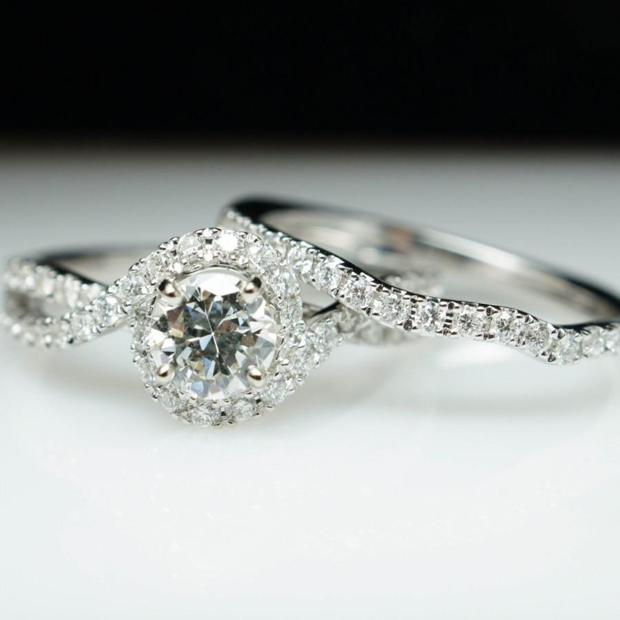Mariage - Diamond Halo Swirl Engagement Ring & Wedding Band Set 14k White Gold