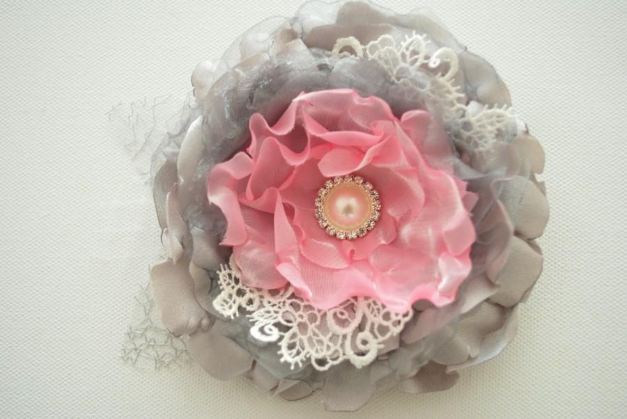 Mariage - grey gray pink romantic rose, weddings accessories hair, bride bridesmaids, satin flowers, brooch, bridal hair clip, flower for sash