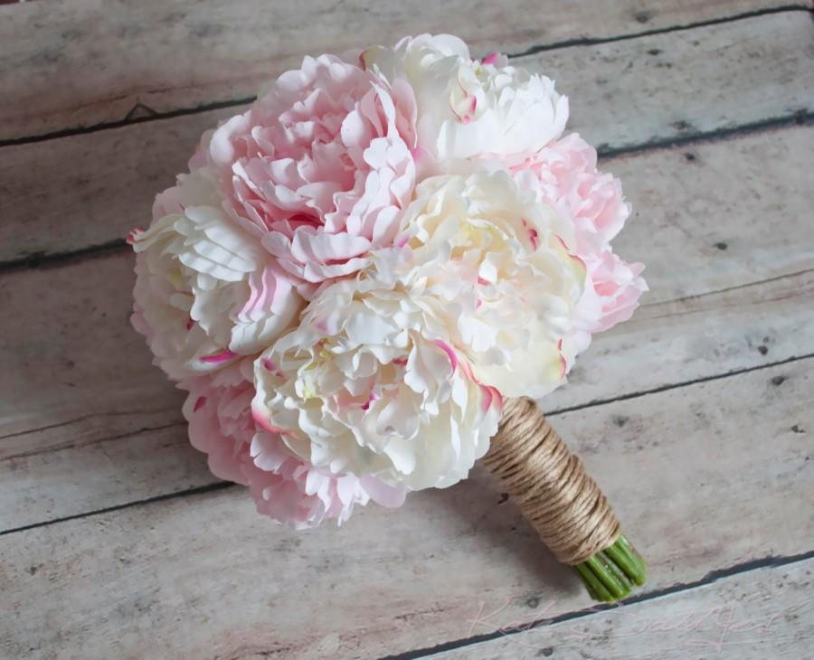 Hochzeit - Ivory and Blush Pink Peony Wedding Bouquet - Rustic Peony Bouquet